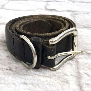 Vintage SolidBrass Women's Black Leather Belt